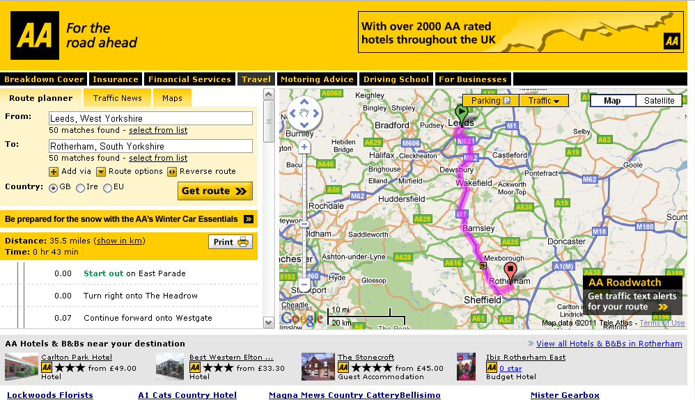 What is AA Route Planner – Steps for finding Routes