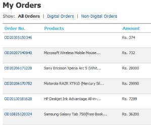 Flipkart Orders List
