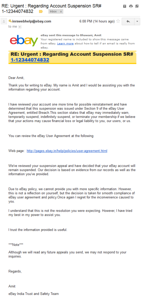 Ebay India Account Suspension Email Response