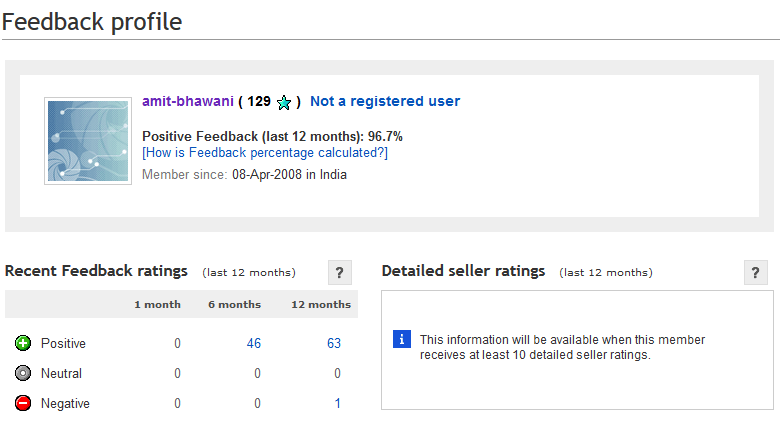 Ebay India Feedback Profile