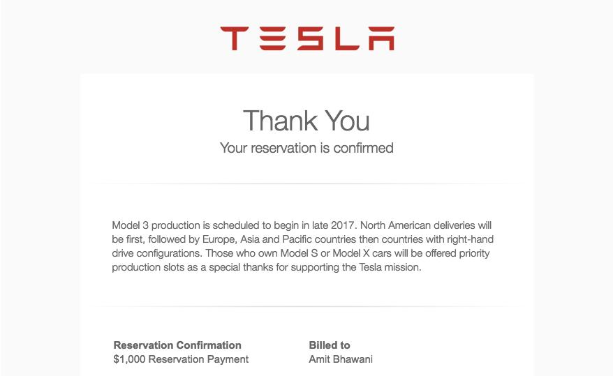 Tesla Order Confirmation Amit Bhawani
