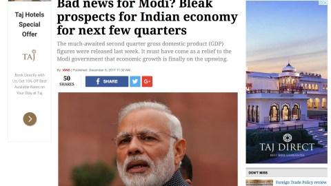 Bad news for Modi? Bleak prospects for Indian economy for next few quarters