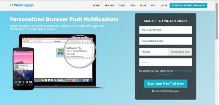 push notification for website