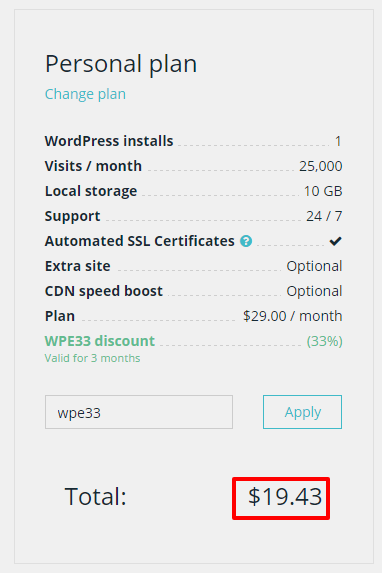 WPEngine pricing personal