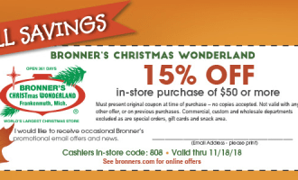 "Bronner's Coupon | Bronner's: ""The"" Christmas Store- NEW Coupon To Use!"