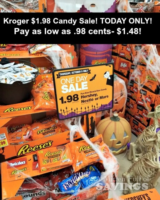 Kroger $1.98 Candy Sale! Pay .98 cents- $1.48!!! TODAY ONLY!