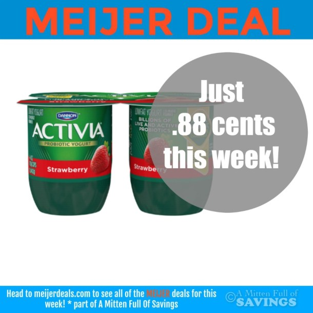 Meijer: Activia Yogurt 4-pack only .88 cents!!