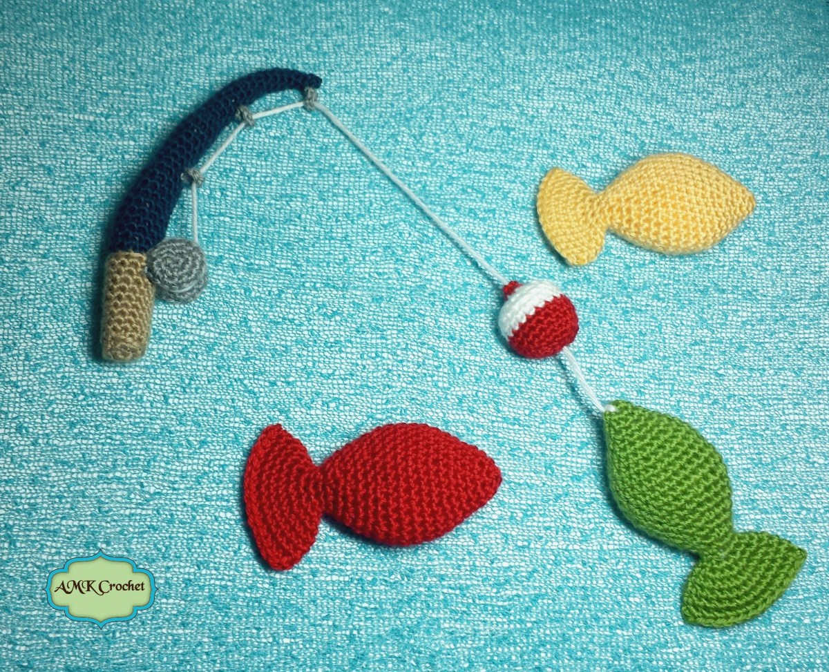 Crochet Fishing Pole With Bobber And Amigurumi Fish