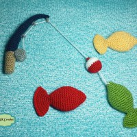 Fishing Pole Crochet Pattern with Fish Plush Toy for Photo Prop - Crochet Pattern by AMKCrochet.com