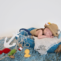 Crochet Newborn Fisherman Outfit Pattern by AMKCrochet.com