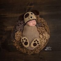 Newborn Crochet Puppy Hat and Paw Print Booties Photo Prop Pattern by AMKCrochet.com