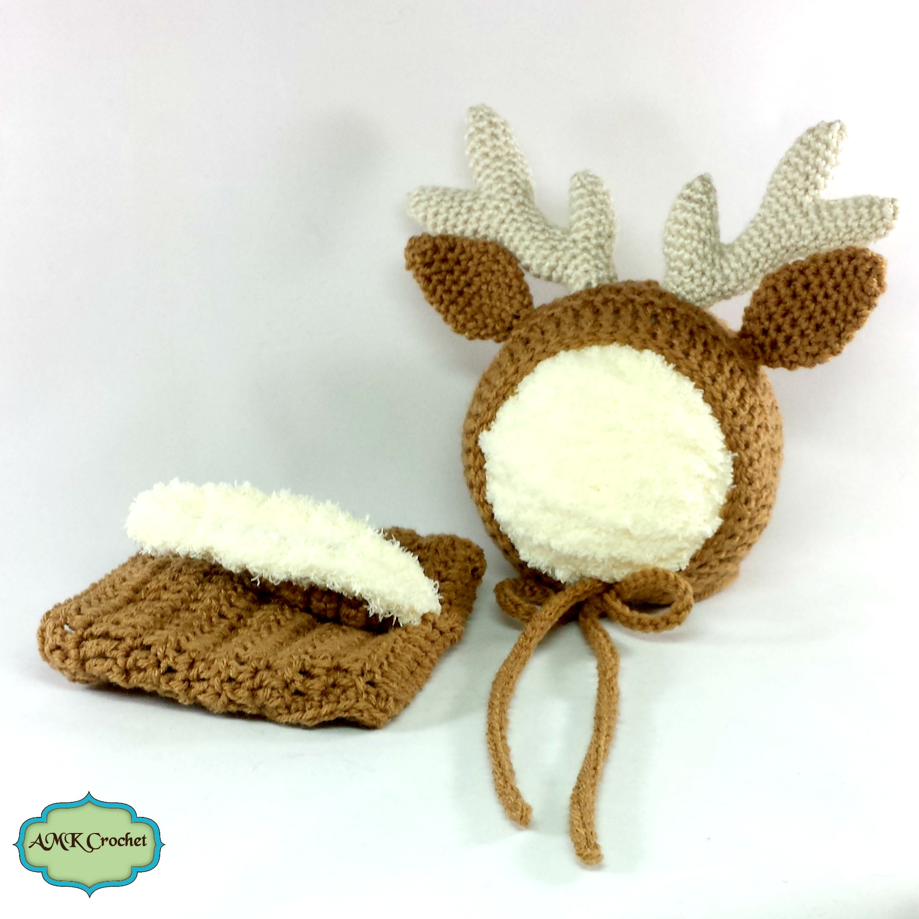 2cc16848b Newborn Deer Hat and Diaper Cover, Deer or Reindeer Outfit, Photo ...