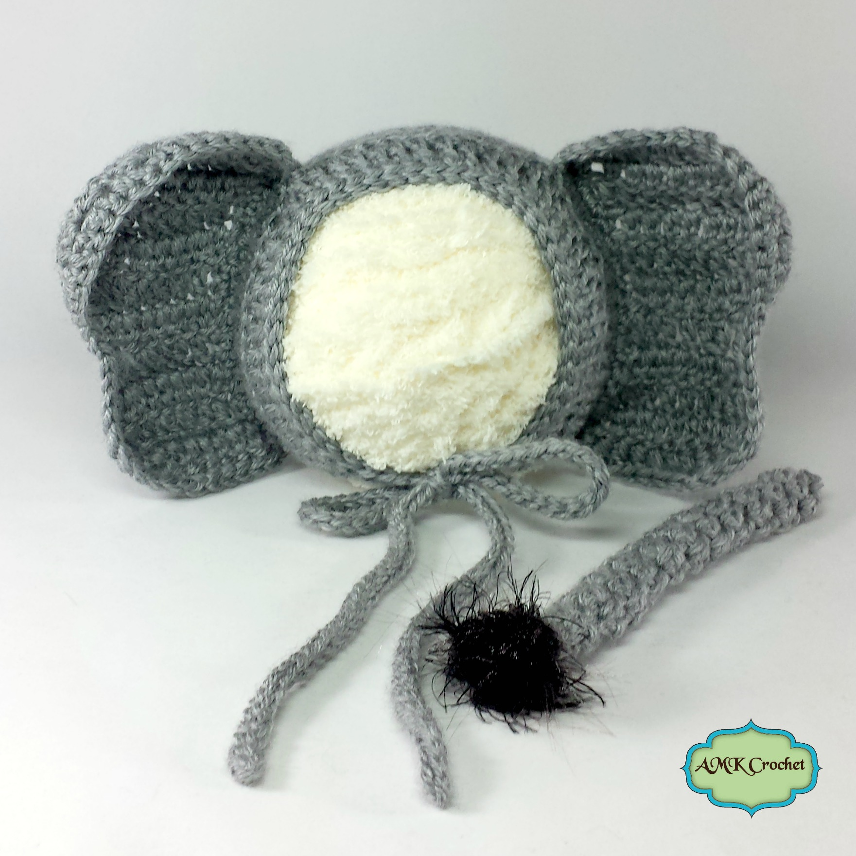 877990a1ee6 Crochet Newborn Elephant Hat and Unattached Tail Photo Prop Pattern ...