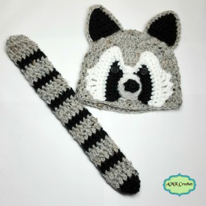 Newborn Raccoon Hat and Tail Photo Prop Pattern by AMKCrochet.com