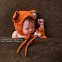Newborn Fox Bonnet Hat with Matching Plush Toy Fox Photo Prop Crochet Pattern by AMKCrochet.com