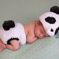 Crochet Newborn Panda Outfit with Bamboo Photo Prop Pattern by AMKCrochet.com