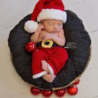 Crochet Newborn Santa Claus Hat and Pants Photo Prop Pattern by AMKCrochet.com