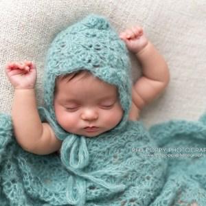 Newborn Crochet Baby Lace Bonnet Hat and Wrap Photography Prop Pattern by AMKCrochet.com