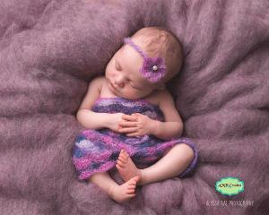 Newborn Baby Girl Crochet Lace Flower Headband and Dress Photography Prop Pattern by AMKCrochet.com