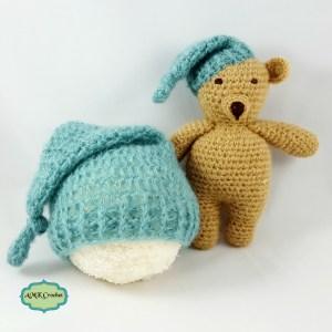 Newborn Sleepy Hat and Matching Bear Plush Photo Prop Pattern by AMKCrochet.com