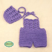 Crochet Newborn Baby Girl Bonnet Hat and Romper Photo Prop Pattern by AMKCrochet.com