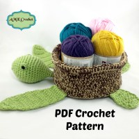 Crochet Sea Turtle Basket Pattern by AMKCrochet.com