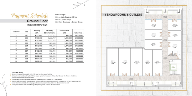 Fourth Floor Payment Plan & Floor Plan
