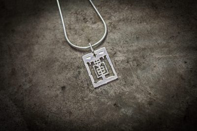 TPA4 - Large silver Angkor Wat on silver chain