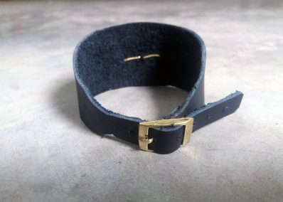 AL4 -Womens Leather and bullet lace cuff bracelet (back view)