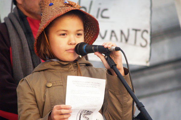 Ta'Kaiya Blaney, 10, of Sleiamun Nation
