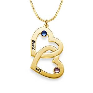 Heart in Heart Birthstone Necklace - Gold Plated