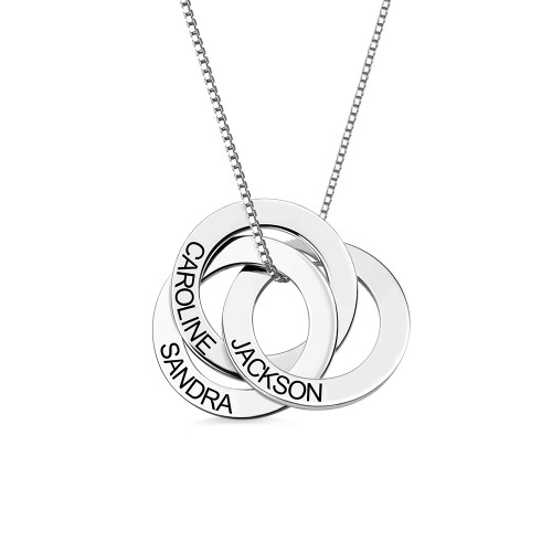 Russian Ring Necklace with Engraving in Sterling Silver