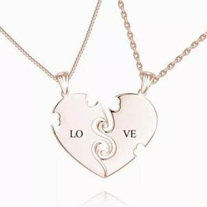 """""""True Love"""" Couples Heart Necklace With Engraving Rose Gold Plated"""