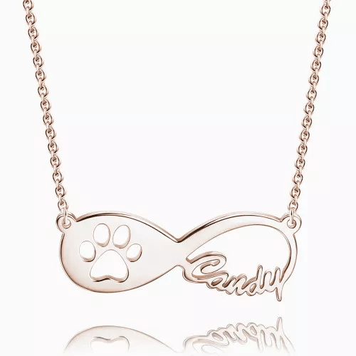 Dog Paw Print Infinity Name Necklace Rose Gold Plated