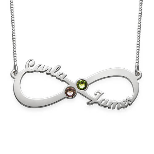 Personalized Infinity 2 Names Birthstone Necklace In Gold