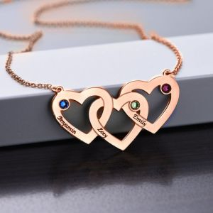 Intertwined Hearts Necklace with Birthstones - Rose Gold Plated