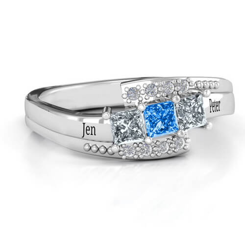 Triple Princess Stone Ring with Accents