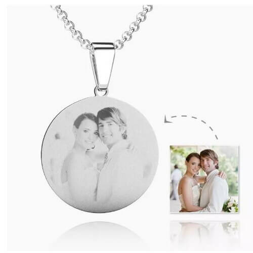 Womens Round Photo Engraved Necklace Stainless Steel