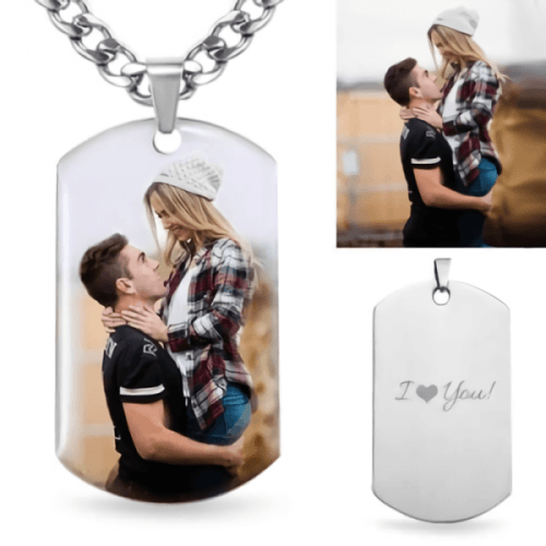 Engraved Stainless Steel Photo Necklace for Father