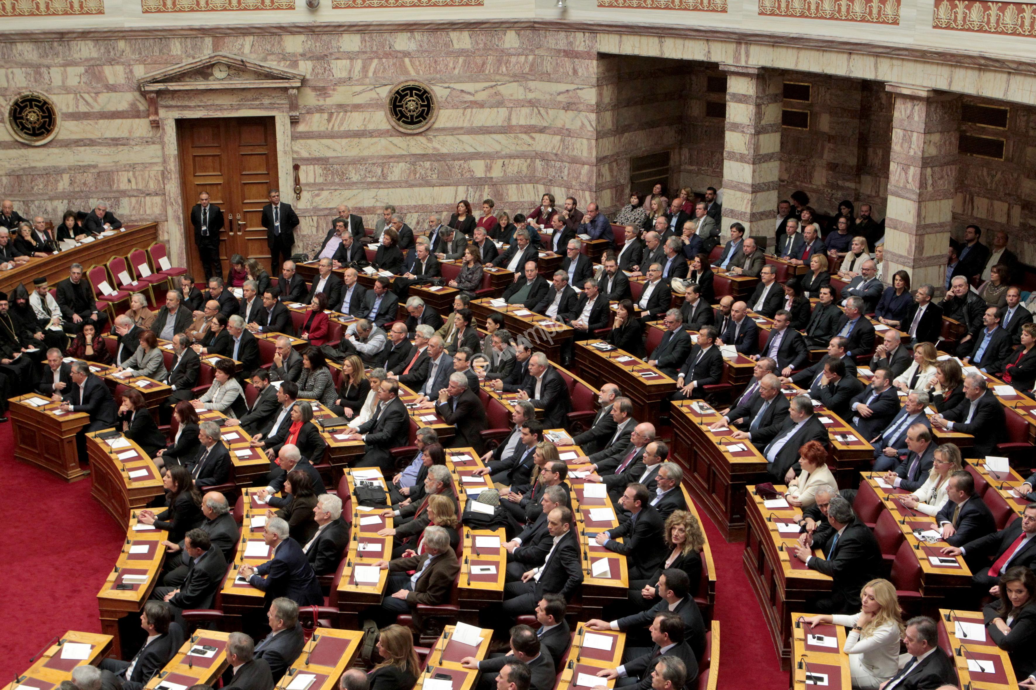 Βουλευτές παρακολουθούν ορκωμοσία στην Βουλή, Πέμπτη 5 Φεβρουαρίου 2015. Πραγματοποιήθηκε στην ολομέλεια της Βουλής η ορκωμοσία των βουλευτών που εξελέγησαν στις εκλογές του Ιανουαρίου. ΑΠΕ-ΜΠΕ/ΑΠΕ-ΜΠΕ/Παντελής Σαίτας