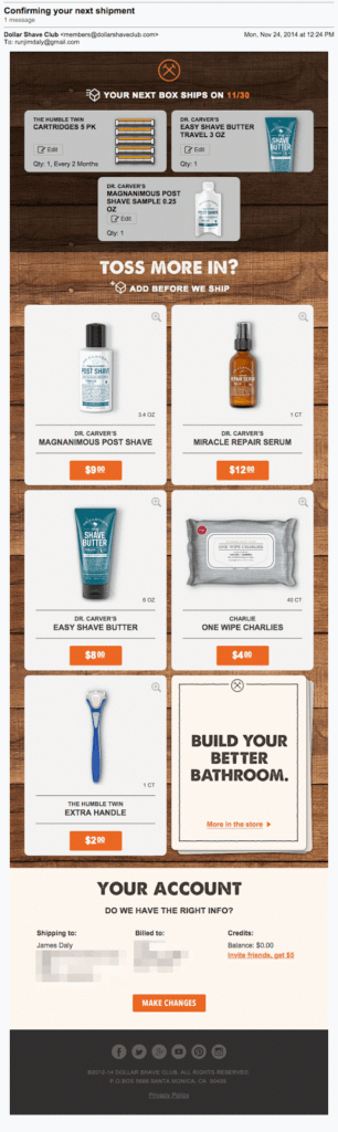 Dollar Shave Club upsell ecommerce email