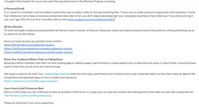 Unbounce affiliate motivation email