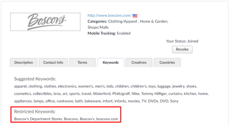 Boscovs restricted affiliate keywords