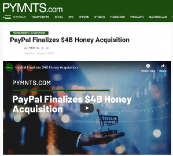 PayPal acquires Honey for $4 billion