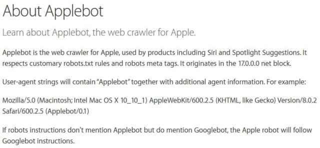 عناكب Applebot مخصصة لتطوير سيري و Spotlight