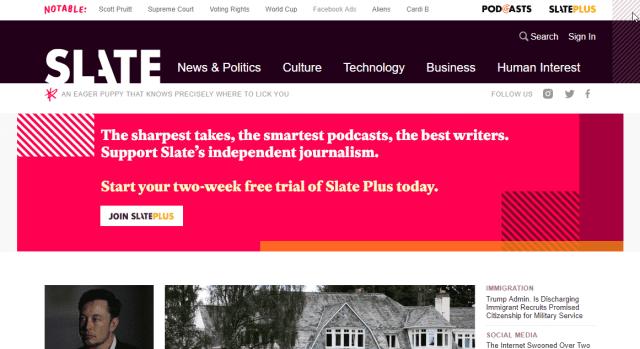 Slate انهيار زيارات مجلة Slate الإخبارية بنسبة 87 في المئة والسبب فيس بوك
