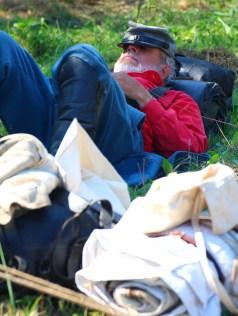 Ben Kleppinger/ben.kleppinger@amnews.com Civil War reenactor Richard Talton takes a nap at his camp Thursday afternoon.