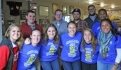 Kendra Peek/kendra.peek@amnews.com Centre College students support the Danville-Boyle County Humane Society in the Pints for Pets Pub Crawl on Saturday at Captain Franks Hot Dog Emporium. From left, Erica Bryan, Ashley Taylor, Jocelyn Kantor, Maggie Hartledge, Elizabeth Brandt, and Lidia Galindo; Sam Rush, Liam Halferty, Dan Sharvaugh, Ryan Shannon, and Stanley Willard.