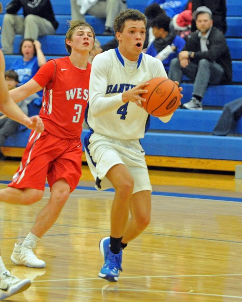 Matt Overing/matthew.overing@amnews.com Danville's Jared Southerland drives with the ball during Tuesday's game against West Jessamine.