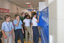 Kendra Peek/kendra.peek@amnews.com Students see their lockers for the first time in the new wing of the Toliver Elementary School.